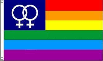 Large Double Female Rainbow Flag   90 x 150 cm