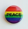 "Small Rainbow Button ""PEACE"""