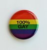 "Small Rainbow Button ""100% Gay"""
